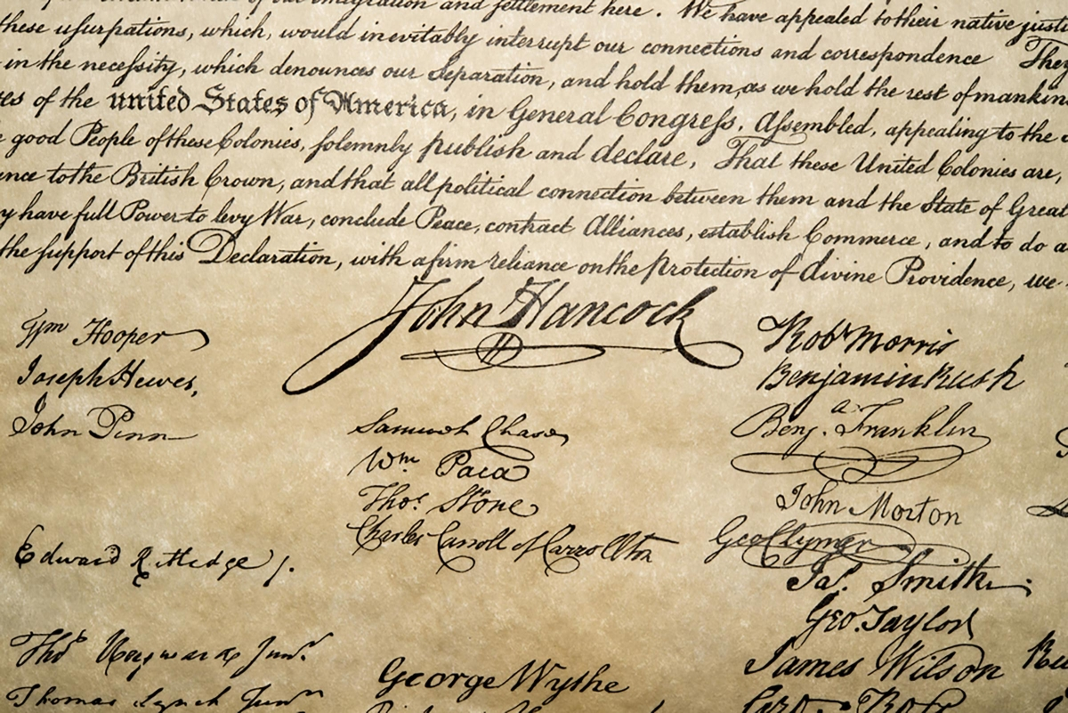 John Hancock's Prominent Signature on The Declaration of Independence