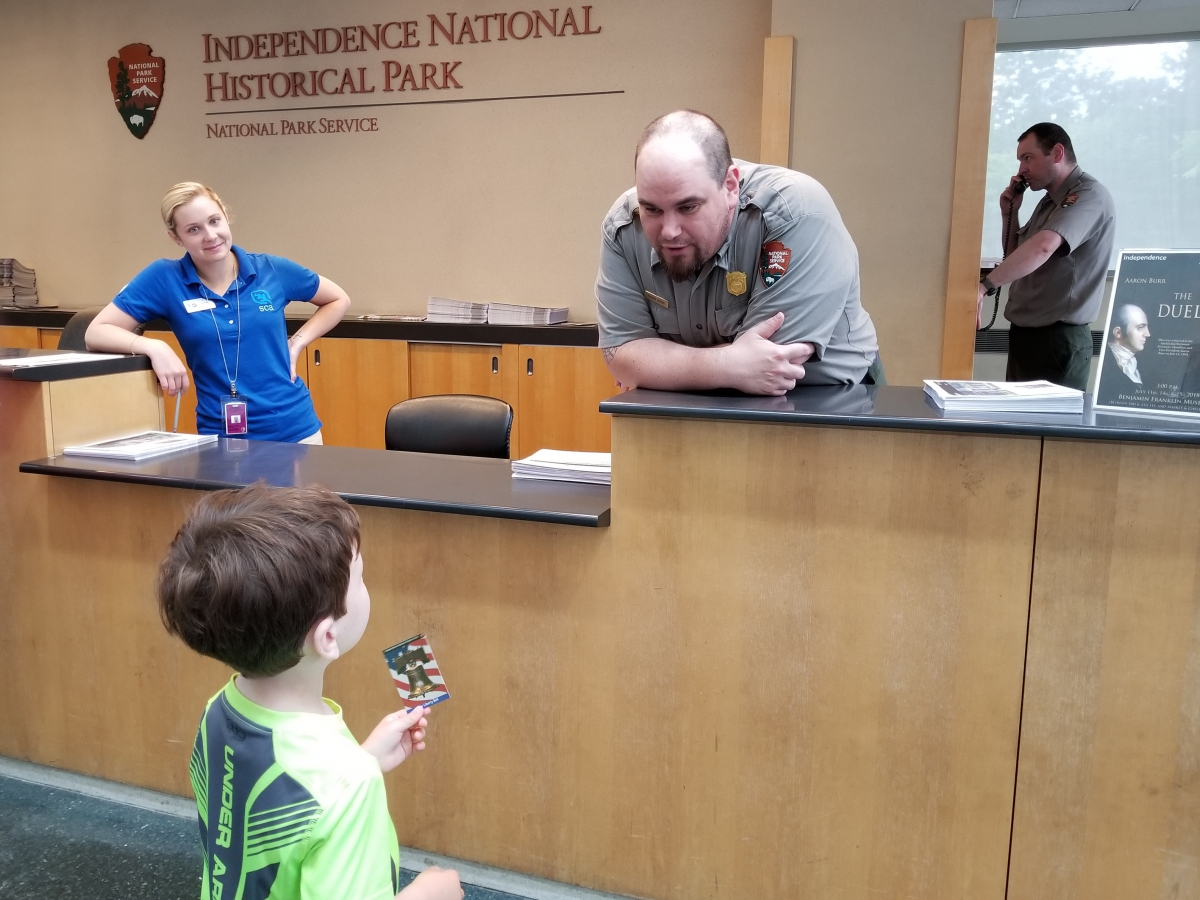 Receiving a Trading Card at the Independence Visitor Center