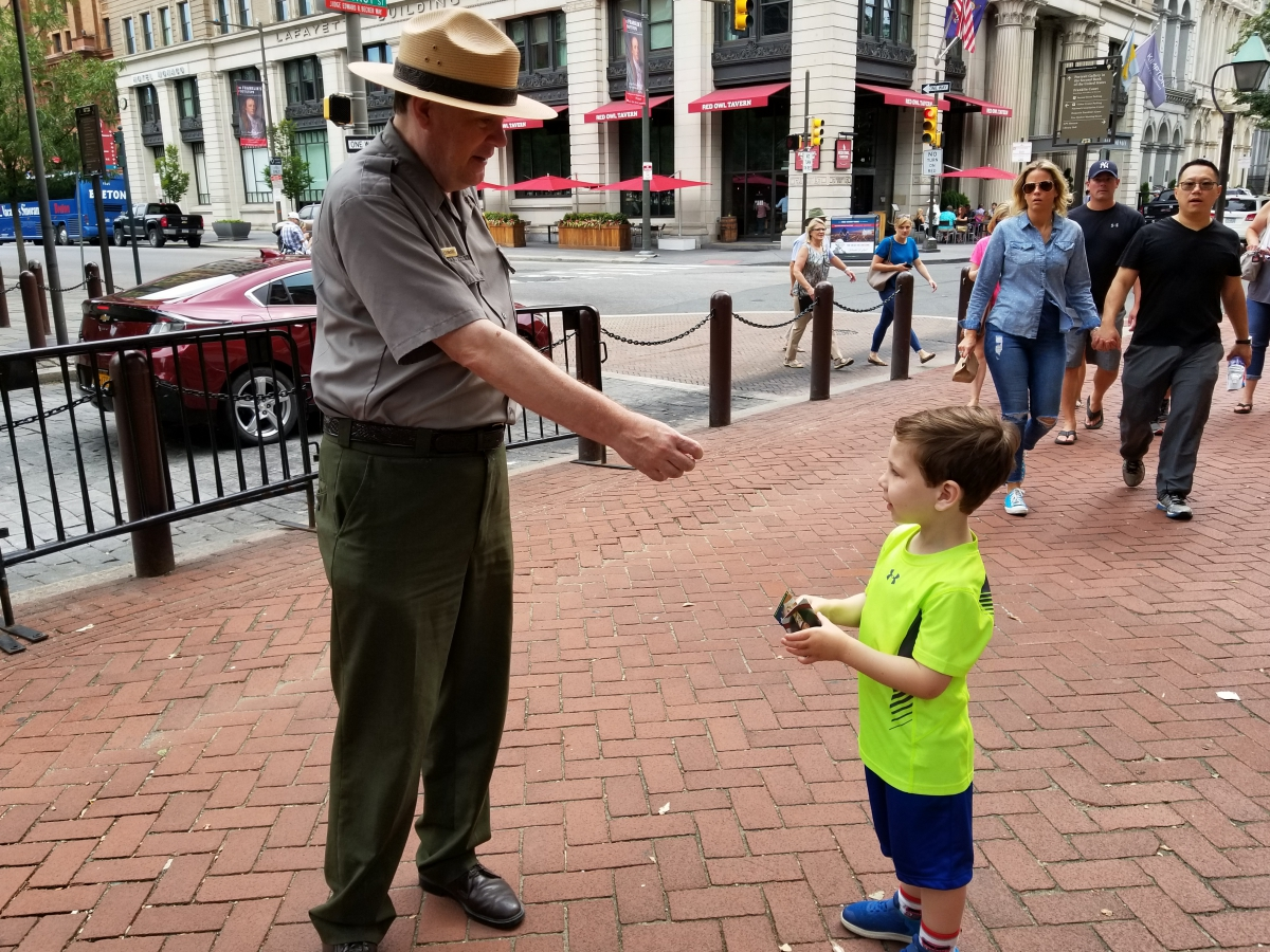 Receiving a Trading Card from the Park Ranger at Independence Hall