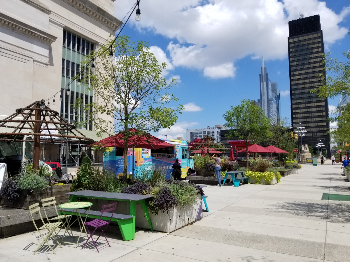 Food truck and new permanent benches at the Porch
