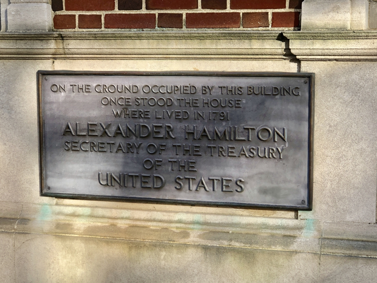 Home Site of Alexander Hamilton, Secretary of the Treasury, Where He Lived in 1791