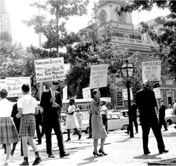 Seminal LGBT Rights Demonstration, July 4, 1965 - Photo Credit: Equality Forum