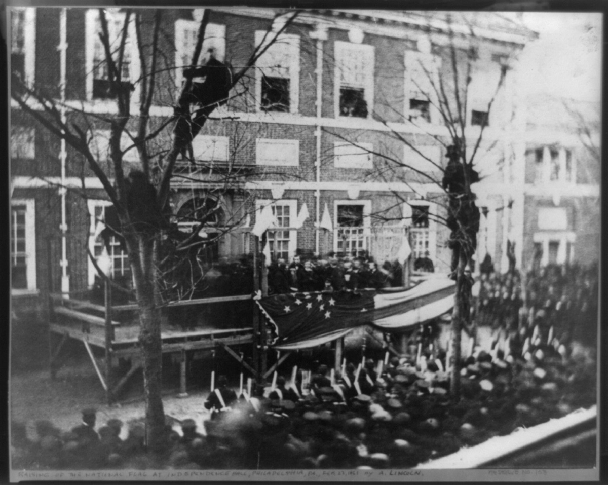 Abraham Lincoln in front of Independence Hall - February 22, 1861