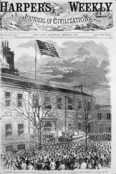 Harper's Weekly Cover with an Engraving of Lincoln's Speech in front of Independence Hall