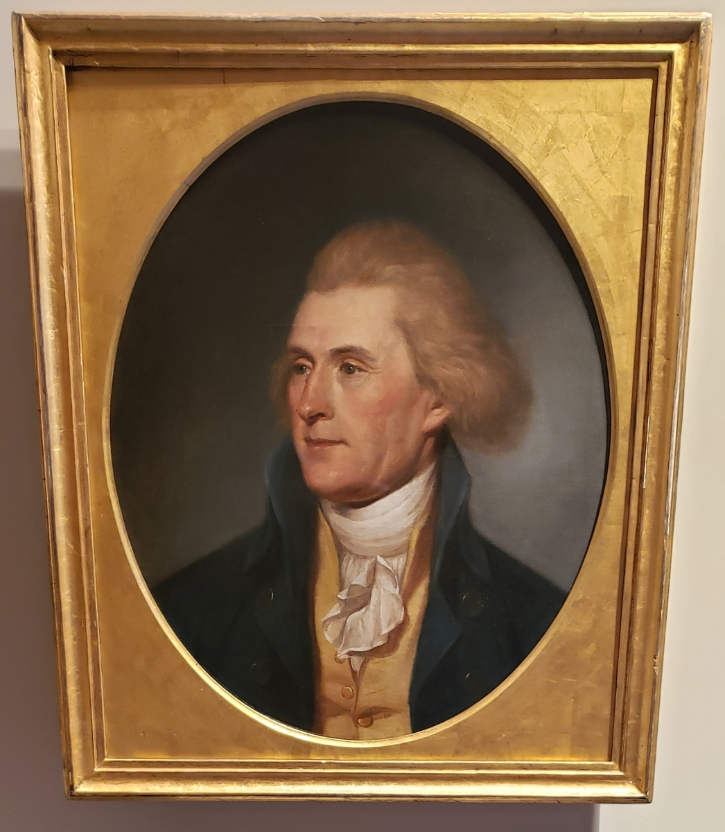 Portrait of Thomas Jefferson hanging in the Second Bank of the United States Portrait Gallery
