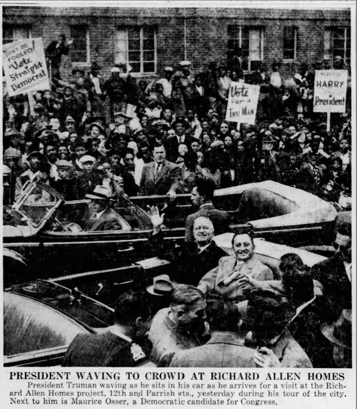 Harry Truman arrives at the Richard Allen Homes on his Tour of Philadelphia - October 6, 1948 - The Philadelphia Inquirer