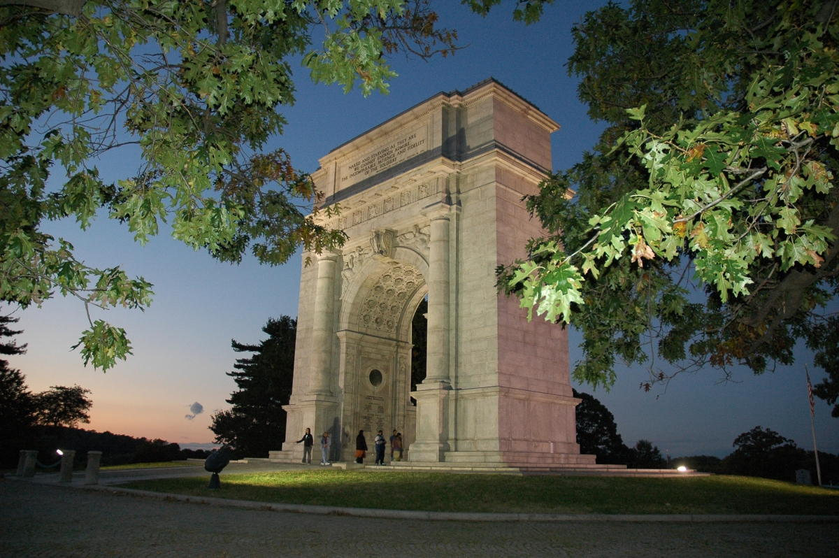National Memorial Arch at Valley Forge is dedicated to the officers and private soldiers of the Continental Army.  Source: ValleyForge.org
