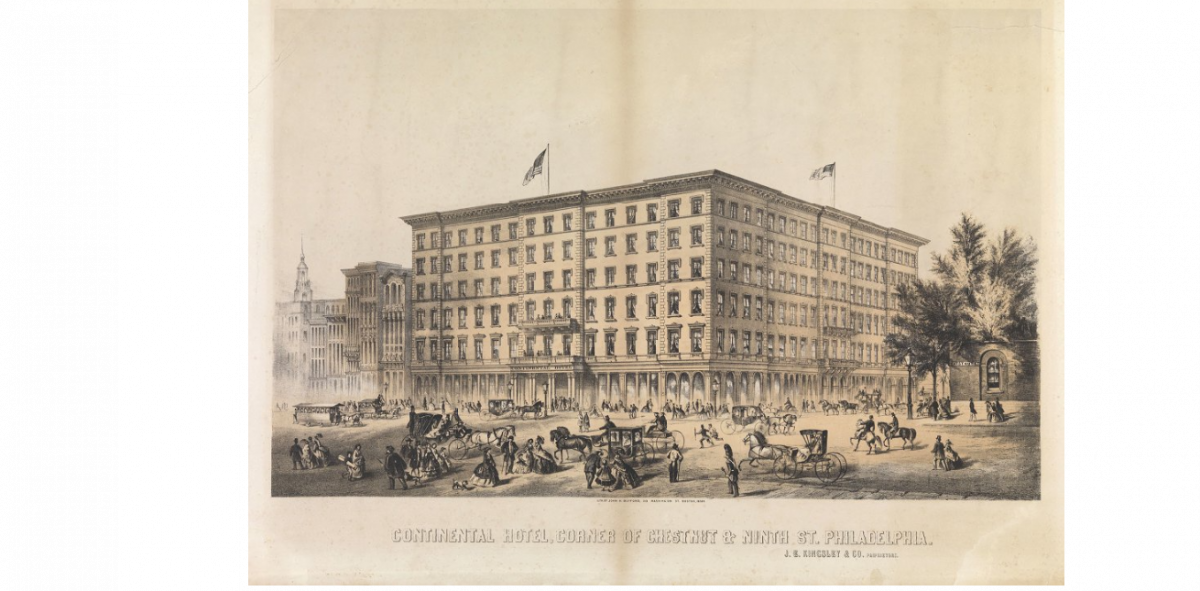 The Continental Hotel - Lincoln spent the night of February 21, 1861 at this location (credit: Library Company of Philadelphia)