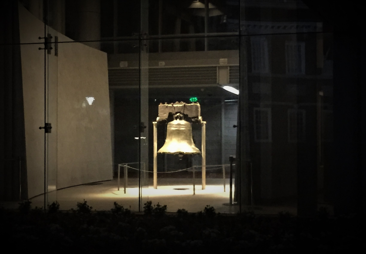 View of The Liberty Bell at night from outside the Liberty Bell Center