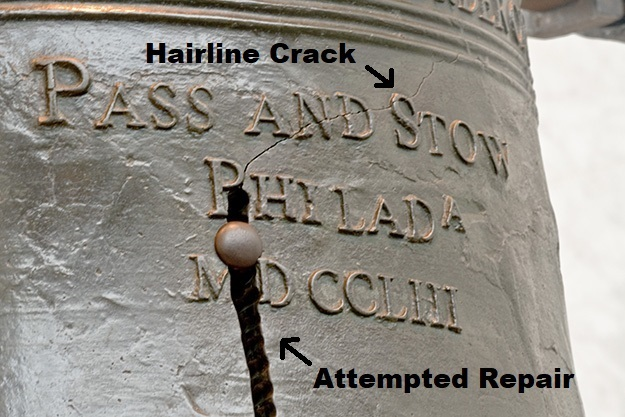 View of the Hairline Crack that silenced The Liberty Bell above the attempted repair