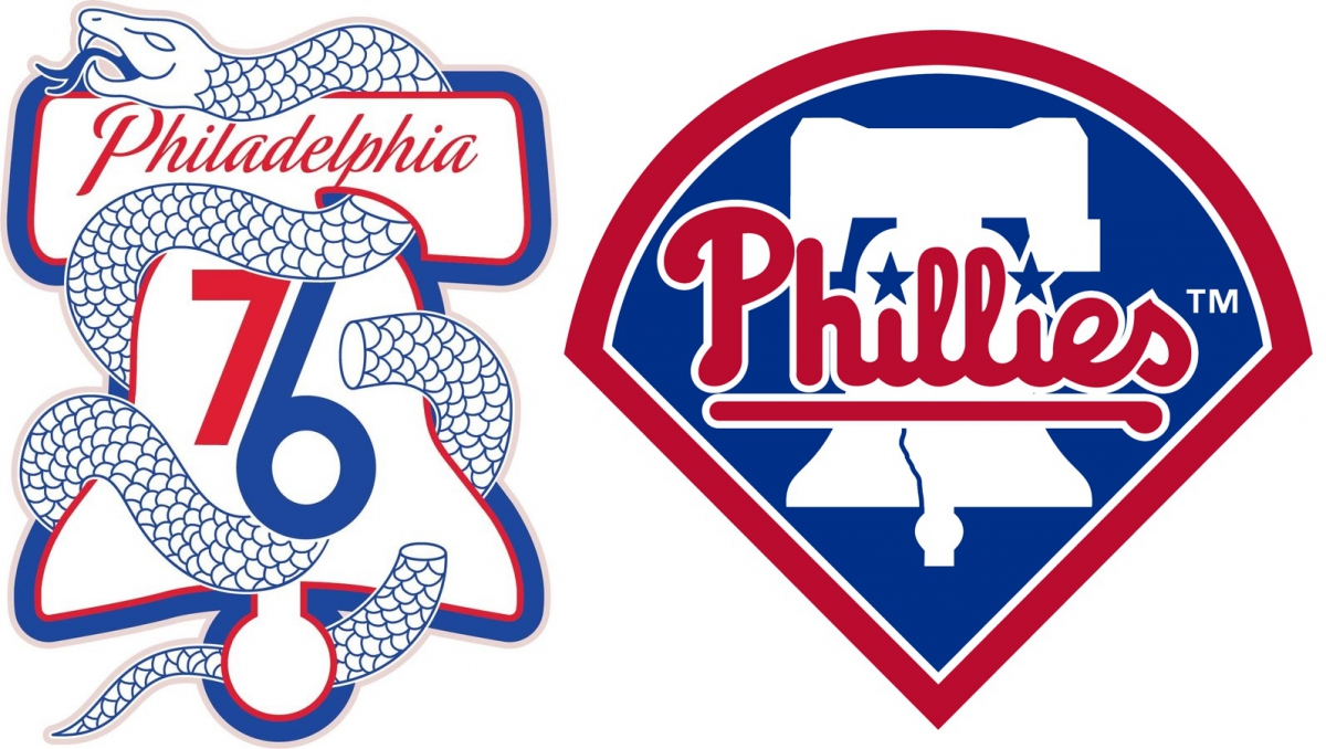 Philadelphia 76ers and Philadelphia Phillies logos featuring The Liberty Bell