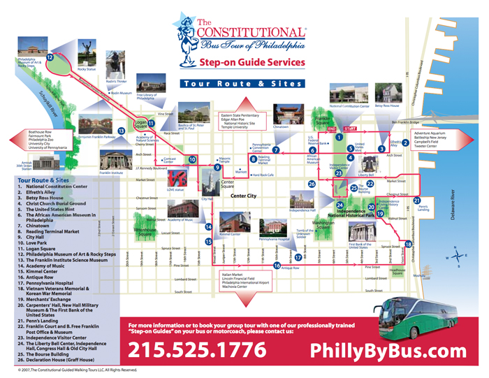 Bus Tour and Stepon Guide Services – Philadelphia Tourist Map