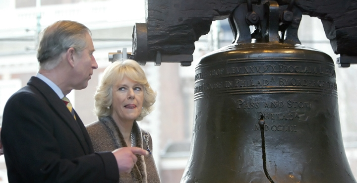 Britain's Prince Charles and the Duchess of Cornwall Camilla Parker-Bowles visit the Liberty Bell, January 27, 2007, Philadelphia
