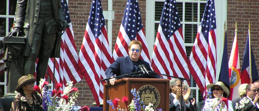 Sir Elton John Accepting the City of Brotherly Love Humanitarian Award at the Independence Day Ceremony at Independence Hall on July 4, 2005