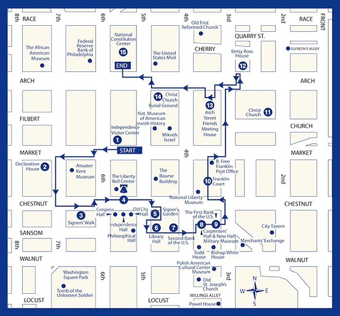 Philadelphia Walking Tour Map Audio Tour Map | The Constitutional Walking Tour of Philadelphia